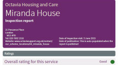 Miranda House - Care Inspection Certificate
