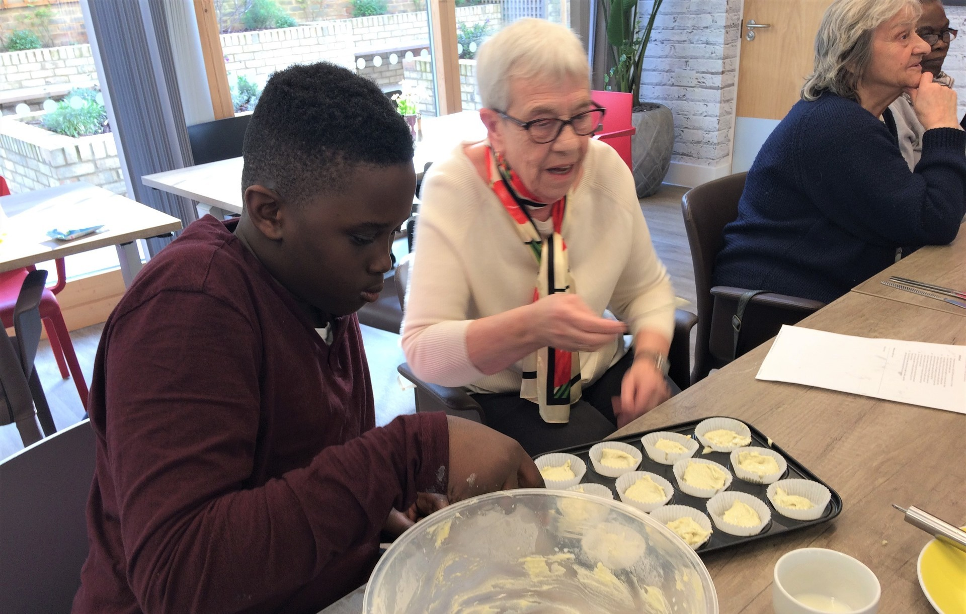 Intergenerational cake baking